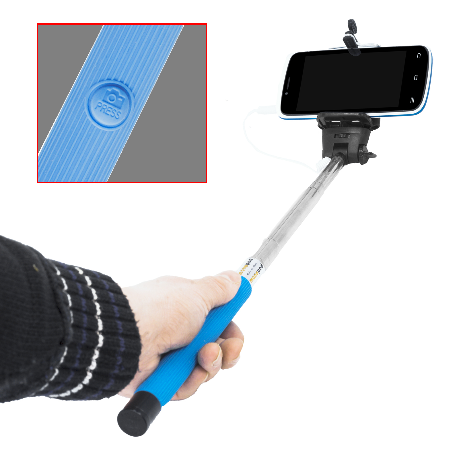 selphy handstativ blau mono tripod mit 3 5mm kamera ausl serkabel f r handy smartphone und. Black Bedroom Furniture Sets. Home Design Ideas