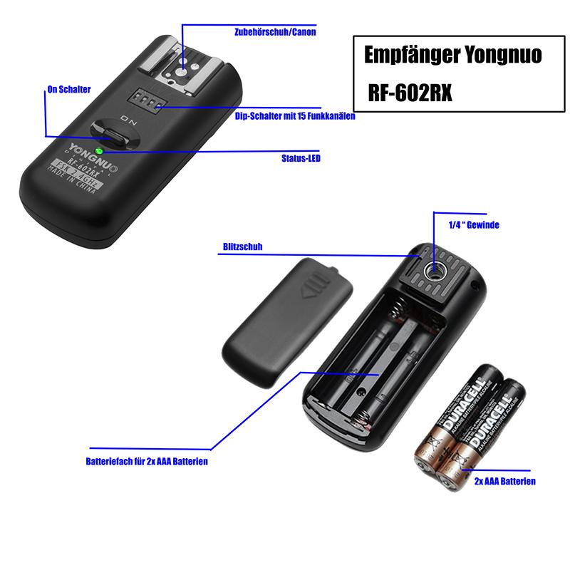 manual Blitzauslöser Kamera Auslöser Sender Empfänger YongNuo RF ...
